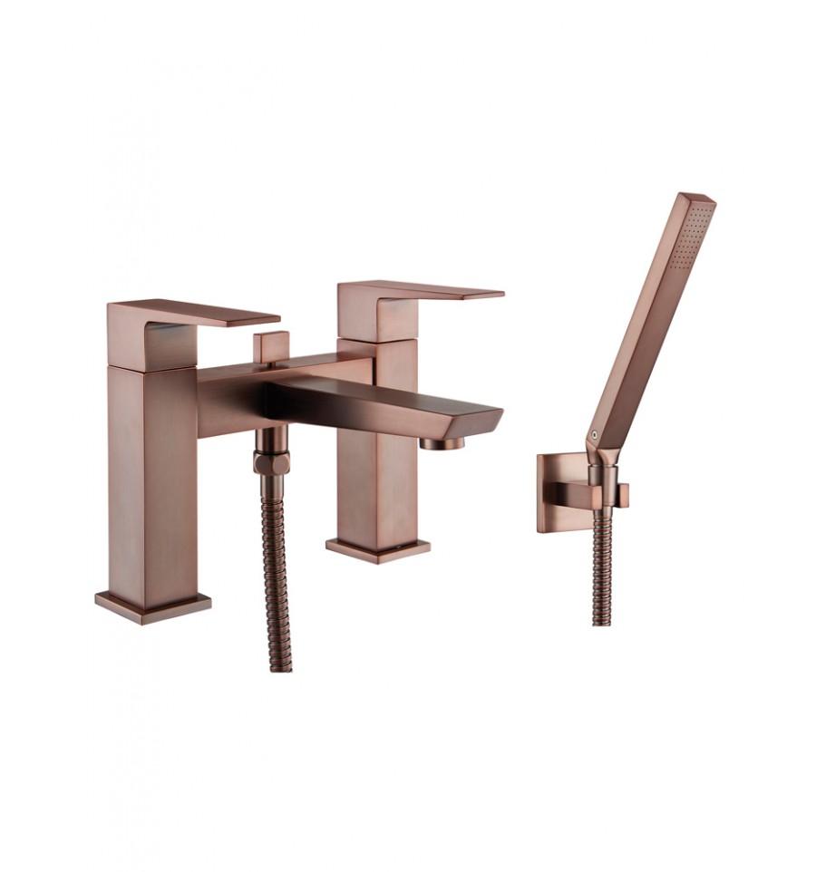 aqualla ramore deck mounted bath shower mixer bronze