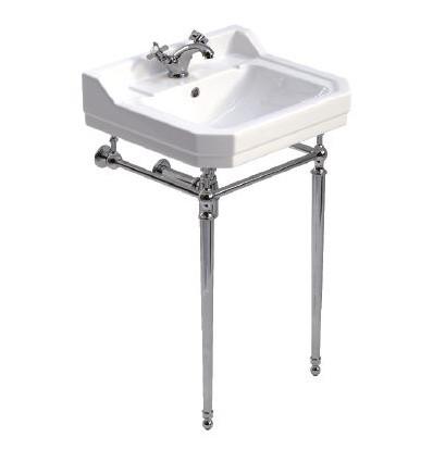 Sonas Westbury 55 cm Basin and Chrome Washstand 1 Tap Hole