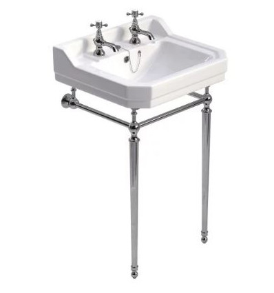 Sonas Westbury 55 cm Basin and Chrome Washstand 2 Tap Hole
