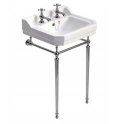 Sonas Westbury 610mm Basin and Chrome Washstand 2 Tap Hole