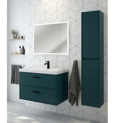 SONAS Finland Ocean Blue Matt 80cm Wall Hung Vanity Unit - Matt Black Handle Code BFIN80OB