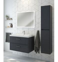 SONAS Finland Midnight Grey Matt 80cm Wall Hung Vanity Unit - Brushed Chrome Handle Code CFIN80MN