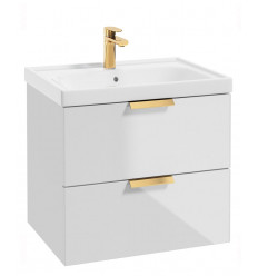 SONAS Stockholm Gloss White 60cm Wall Hung Vanity Unit - Brushed Gold Handle Code GWST60WH
